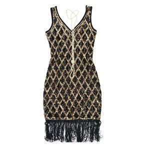 1920s Flapper Style Sequin Fringe Dress M
